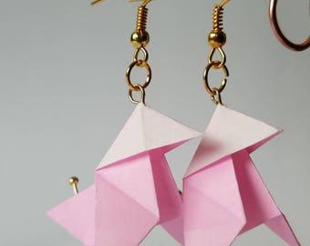 Pale pink cranes origami earrings