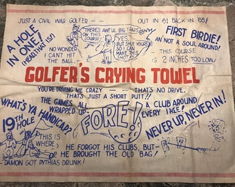Vintage tea towel - golfer's crying towel