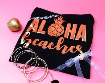 Aloha Beaches Bachelorette Party Shirt Aloha Bride Hawaii Pineapple Tank Top Bridesmaid Gift Wedding Party Shirt
