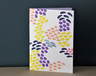 Graphic notebook, small patterns notebook, japanese patterns notebook, colorful notebook, handprinted notebook, hand bound notebook