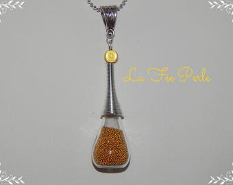 Pendant trimmed with micro glass beads ocher