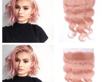 Human Hair Pastel Pink Lace Frontal with Free part 100% Human Hair