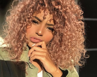 Short curly deep wave Rose Gold colored 100% Virgin Human Hair Lace Fronta wig top quality curly hair