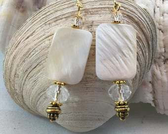Mother of Pearl Shell Swarovski Crystal Drop/Dangle Earring with Yellow Gold Accents 18ct gold plate wires