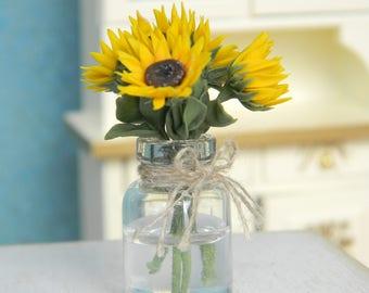 Miniature Sunflower, Dollhouse Flowers, Miniature 1:12, Rustic,Provence, Country Decor, Vintage Style, Miniature Flower Bouquet, Table Decor