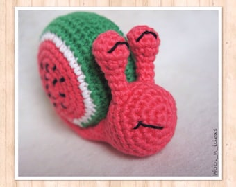 NEW! Stuffed snail watermelon - Amigurumi - handmade