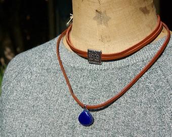 Lapis Lazuli, Lapis Lazuli Necklace in natural stone, Lapis Lazuli choker in leather.