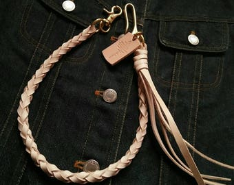 Leather braided wallet chain,Handmade,Wallet,braided,vegtan leather