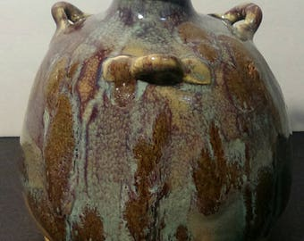 Antique Chinese Flambe Glazed Vessel or water pot w/ 3 Handles