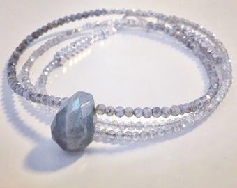 Beaded Gemstone Necklace Labradorite Necklace Long skinny Quartz Necklace Teardrop Tiny Bead Necklace Wrap Around Seed beads Womans Crystal