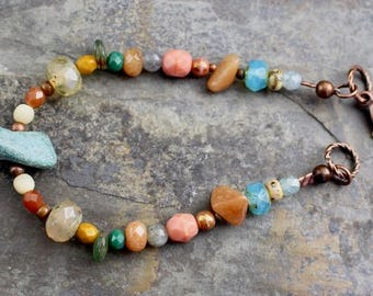 NEW Viking inspired bracelet, natural stone,ruby in zoisite, Czech glass beads, copper lobster clasp,B176