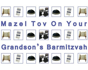 4 x Grandson's Barmitzvah Cards, Jewish Greeting Cards, Blue Envelopes, Handmade in England, Blank Inside, Barmitzvah Boy, 4 in Pack, or 1