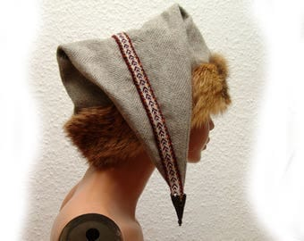 CAP, Middle Ages, Viking, Rus, Brettchenborte, fur fox Genuine, Gr. 57, Wool herringbone, linen, Birka