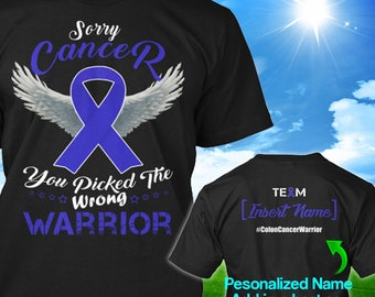 Personalized Colon Cancer Awareness Tshirt Dark Blue Navy Ribbon Warrior Support Survivor Custom T-shirt Apparel Unisex Women Youth Kids Tee