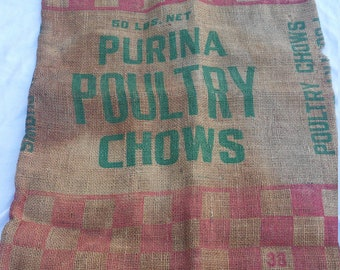 Vintage - Purina Poultry Chow Burlap Feed Bag- Sack -50 lb. - Checkerboard