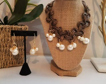 Braided necklace choker Brown type