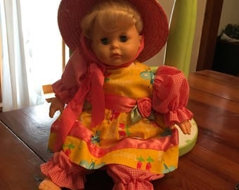 1988 Vintage Effanbee Doll with Hat, Blonde Hair and Ponytail and  Freckles #41460