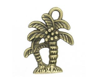 set of 5 charms was Island coconut palm tree bronze (T03)