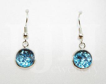 Handmade Blue Glitter Glass Cabochon Dangle Drop Hook Earrings