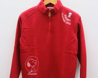 Vintage SNOOPY Everyone Love Peanuts Red Pullover Sweater Sweatshirt Size L