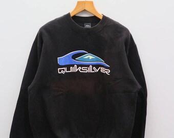 Vintage QUIKSILVER Big Logo Surfing Hawaii Aloha Black Sweater Sweatshirts