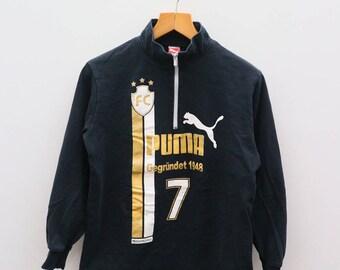 Vintage PUMA FC 7 Gegrundet Big Logo Sportswear Black Sweater Sweatshirt Size 160