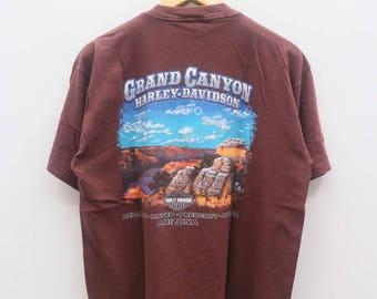 Vintage HARLEY DAVIDSON Motorcycle Grand Canyon Brown Tee T Shirt