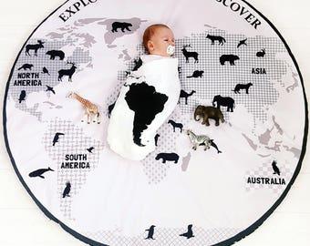 Baby play mat Discovery, rug baby, nursery playmat, map of the world, map for children, scandinavian playmat, newborn gift, baby shower gift
