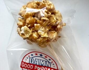 12 Gourmet Caramel Popcorn Balls on a Stick