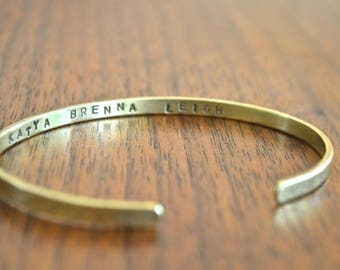 Thin personalized cuff bracelet