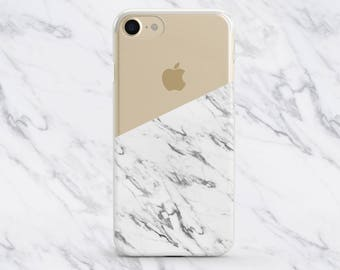 White Half Marble Case, iPhone 8 Plus Case, iPhone 7 Plus Case, iPhone 7 Case, iPhone 6 Plus Case, iPhone 6/6s Case, iPhone 8 Case, Clear