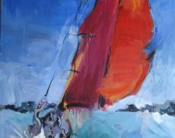 Painting, sailboat, acrylics