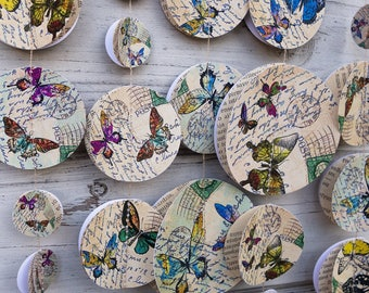 Butterfly paper garland, Wedding decorations, Baby shower, Summer garlands, Paper garland, Vintage garland, Birthday decor, Nature garland