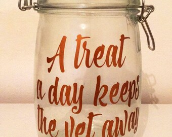 Keep the vet away treat jar for dogs or cats