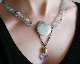 Seafoam Stone and Amethyst Crystal Necklace