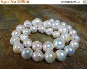 53% off Weekend Sale... Rainbow white baroque freshwater pearls/12x10-17x17mm/7.5 inch strand