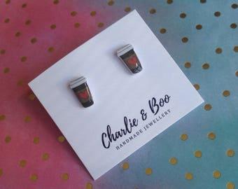 Coffee Cup Studs - Coffee Cup Earrings - Coffee Cup Jewellery - Starbucks Studs - Starbucks Earrings - Coffee Studs - Heart Studs
