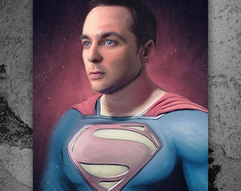 Sheldon Cooper, The Big Bang Theory, Superman, Artwork, Handmade, Printable Art, Poster, Instant Download, Digital Print, Home Decor, Art