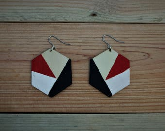 Geometric hand painted plywood earrings, laser cut plywood earrings, wooden earrings,