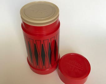Red and Black Thermos | Thermos Container | Red and Black Argyle