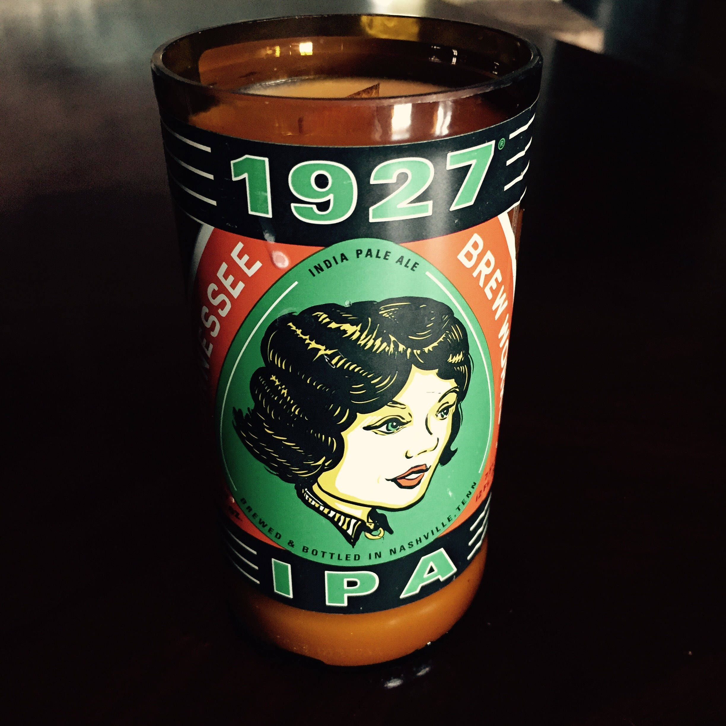 Wood Wick Soy Candle Made From A Tn Brew Works 1927 Ipa Bottle