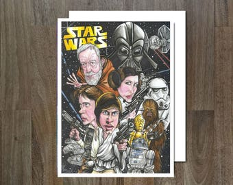 Star Wars, A New Hope, Eco Friendly, Cult Caricature Greeting Card