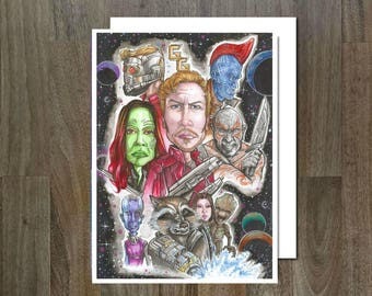 Guardians of the Galaxy, Eco Friendly, Cult Caricature greeting card