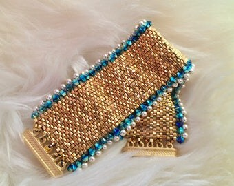 Queen of Nile 24K Luxury Cuff ~ Handwoven 24K Gold and Swarovski Pearl and Crystal Beaded Bracelet