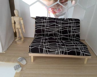 1/6 scale barbie doll size handmade  futon sofa bed for dolls..