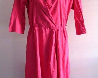 80s Vintage Impromptu Womens Collar Dress Hot Pink A Line Size 12