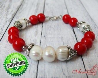 Coral Pearl Natural Stone Bracelet Red Coral White Pearl Bracelet Natural Gemstone Handcrafted Unique Birthstone Coral Natural Stone Jewelry