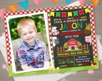 Farm Birthday Invitation with PHOTO Barnyard Invitation Farm Invitation Old McDonalds Invitation Country Birthday Party Barnyard Chalkboard