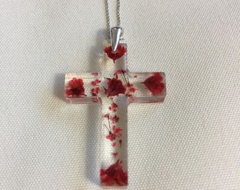 Filigree resin cross necklace / cross necklace/red/red/real blossom / 925 sterling silver