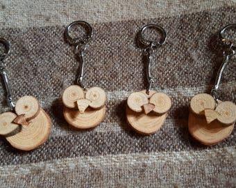 Novelty Wooden Owl Keyring - Handmade - Cherry wood